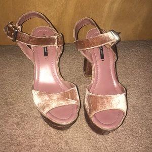 Zara purple velvet platform heels